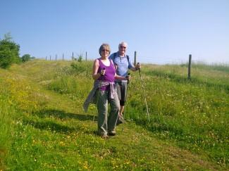Travel journalists walking in Cotswolds