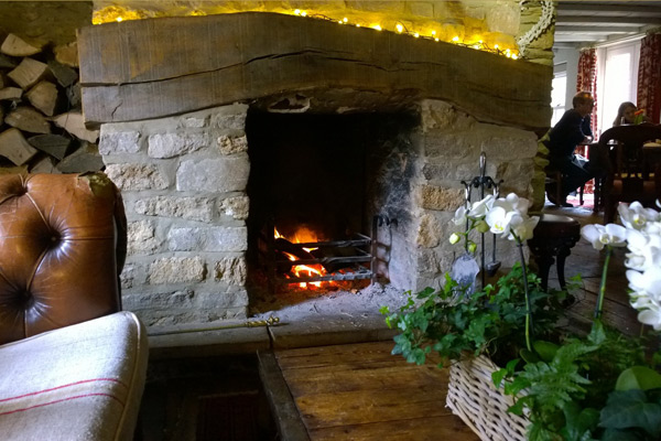 Country pub with fireplace