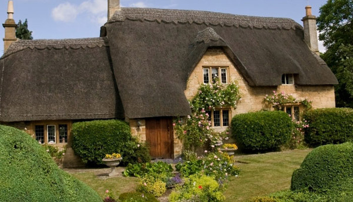 A traditional English thatched cottage