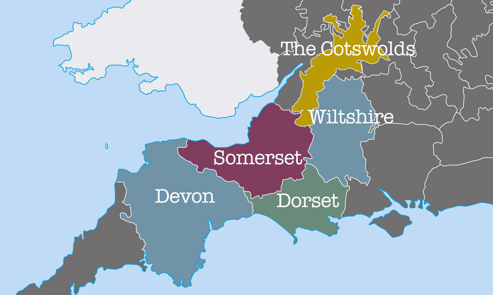 Foot Trails' map of South West England