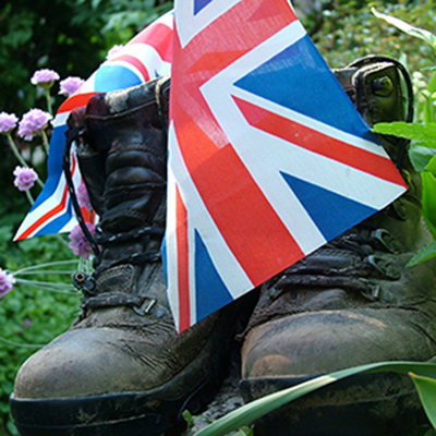 Boots with Union Jack flag