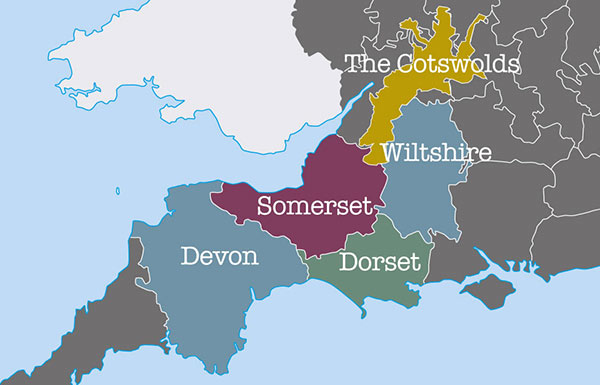 South West England map